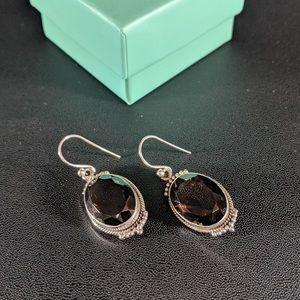 Jewelry - Silver Smoky Genuine Topaz Earrings